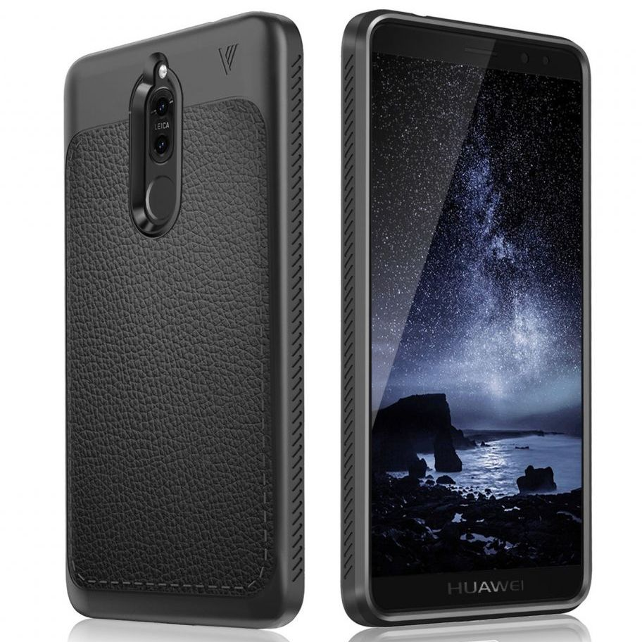 Pokrowiec etui TECH-PROTECT TPU LEATHER czarne HUAWEI Mate 10 Lite